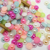 Mixed Color 100pcs/lot 10mm Half Round ABS Imitation Pearl Beads Fake Sunflower Flat Back Scrapbook Craft DIY Jewelry Findings - Hespirides Gifts - 1