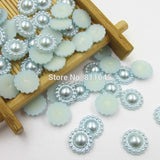 Mixed Color 100pcs/lot 10mm Half Round ABS Imitation Pearl Beads Fake Sunflower Flat Back Scrapbook Craft DIY Jewelry Findings - Hespirides Gifts - 9