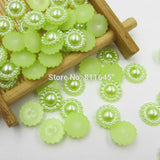 Mixed Color 100pcs/lot 10mm Half Round ABS Imitation Pearl Beads Fake Sunflower Flat Back Scrapbook Craft DIY Jewelry Findings - Hespirides Gifts - 2
