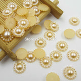 Mixed Color 100pcs/lot 10mm Half Round ABS Imitation Pearl Beads Fake Sunflower Flat Back Scrapbook Craft DIY Jewelry Findings - Hespirides Gifts - 11