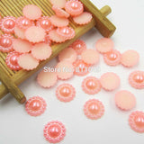 Mixed Color 100pcs/lot 10mm Half Round ABS Imitation Pearl Beads Fake Sunflower Flat Back Scrapbook Craft DIY Jewelry Findings - Hespirides Gifts - 5