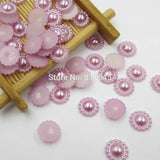 Mixed Color 100pcs/lot 10mm Half Round ABS Imitation Pearl Beads Fake Sunflower Flat Back Scrapbook Craft DIY Jewelry Findings - Hespirides Gifts - 7
