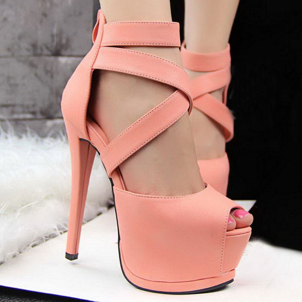 Roman Cross Strap Women Pumps High Platform Candy Color OL High Heel Shoes Sexy Peep Toe Sandals,XWD1274 - Hespirides Gifts - 2