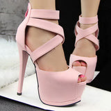 Roman Cross Strap Women Pumps High Platform Candy Color OL High Heel Shoes Sexy Peep Toe Sandals,XWD1274 - Hespirides Gifts - 3