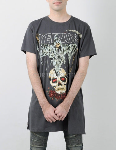 NEW Kanye west Yeezus Tour yeezy Merch Death God Skull logo Sickle And roses dark grey gray white t-shirt t shirt tee - Hespirides Gifts