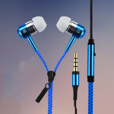 New Metal Zipper Earphones 3.5mm in-ear earphone with mic for IPHONE 4s 5 5s for ipad 2 3 4 mini mp3 mp4 For samsung S5 S6 - Hespirides Gifts - 1
