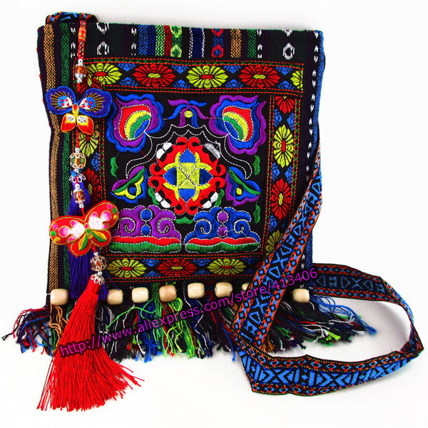 Vintage Hmong Tribal Ethnic Thai Indian Boho shoulder messenger bag linen embroidery Tapestry SYS-005S - Hespirides Gifts