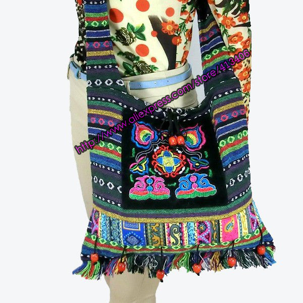 Vintage Hmong Tribal Ethnic Thai Indian Boho shoulder bag message bag linen handmade embroidery Tapestry SYS-083F - Hespirides Gifts