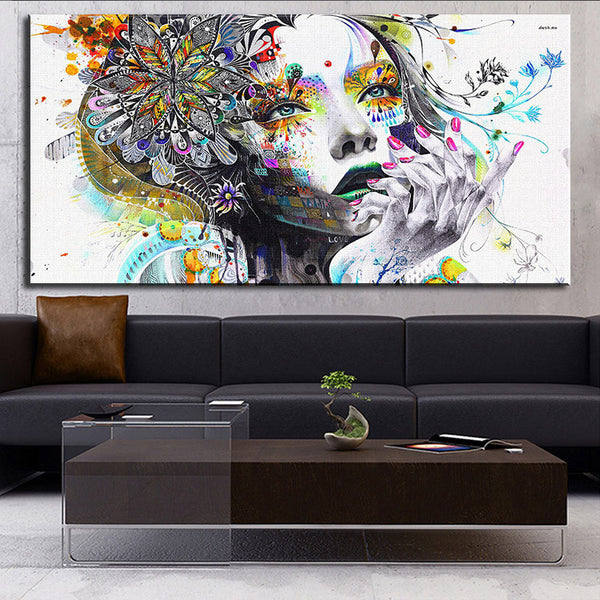 DP ARTISAN Modern wall art girl with flowers oil painting Prints Painting on canvas No frame Pictures Decor For Living Room - Hespirides Gifts