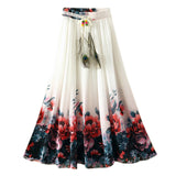 UWBACK New Brand Summer Maxi Skirt Women Long Bohemian Print Floral Chiffon Skirt Saia Femme Boho Beach SKirt Women TB978 - Hespirides Gifts - 1