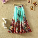 UWBACK New Brand Summer Maxi Skirt Women Long Bohemian Print Floral Chiffon Skirt Saia Femme Boho Beach SKirt Women TB978 - Hespirides Gifts - 3