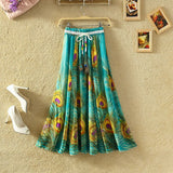 UWBACK New Brand Summer Maxi Skirt Women Long Bohemian Print Floral Chiffon Skirt Saia Femme Boho Beach SKirt Women TB978 - Hespirides Gifts - 5