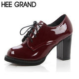 New Arrival Women Oxfords PU Leather Comfortable Thick Heel Women Pumps High Heel Working Shoes XWD238 - Hespirides Gifts - 1