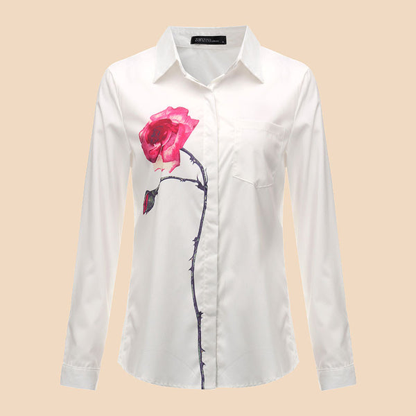 New Blusas Women Tops Spring Autumn Lapel Collar Long Sleeve Floral Printed OL Elegant Casual OL Work Shirts Blouses - Hespirides Gifts - 2