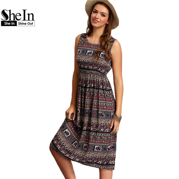 SheIn Summer New Style Famous Brand Womens Vintage Multicolor Round Neck Sleeveless Tribal Print Knee Length Dress - Hespirides Gifts