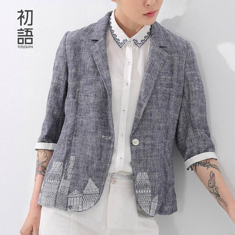 Toyouth British's Style New Brand Blazer Women Linen Casual Suit Women Blazers Slim Fit Regular Single Button Flax Suit Jacket - Hespirides Gifts