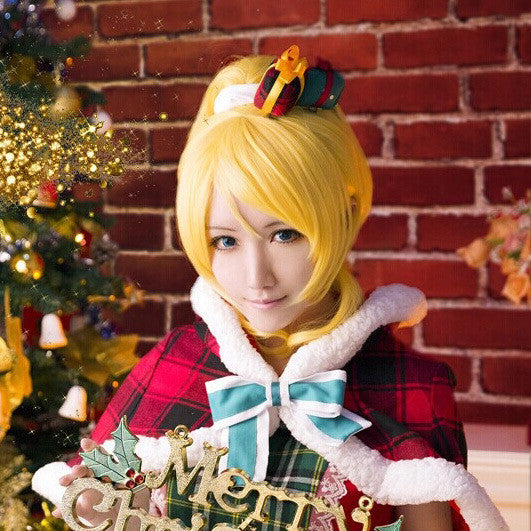 Love Live ! LoveLive! Ayase Eli Cosplay Wigs Yellow Ponytail Hair Straight Medium Anime Cos Wig Pluto P348D - Hespirides Gifts