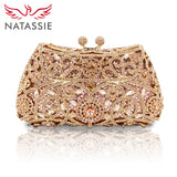 NATASSIE Women Evening Bags Ladies Wedding Party Clutch Bag Crystal Gold Diamonds Purses