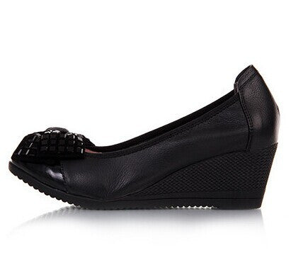 new fashion high heels women pumps,women genuine leather wedge shoes woman single casual shoes - Hespirides Gifts - 2