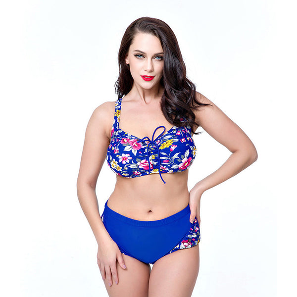 Buy Plus Print Women High Waist Bikini Set