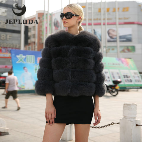 JEPLUDA DY16057 Fur Coat With Free Winter Scarf