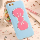 Case For iPhone 6 6S Fashion Lovely 3D Bow-knot Soft Silicon Case For iPhone 6 6S/6 Plus/6S Plus Candy Color Stand Holder Cover - Hespirides Gifts - 5
