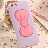 Case For iPhone 6 6S Fashion Lovely 3D Bow-knot Soft Silicon Case For iPhone 6 6S/6 Plus/6S Plus Candy Color Stand Holder Cover - Hespirides Gifts - 3