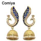 Comiya Gold Pearl Blue Peacock drop earrings for women mosaic brincos de festa indian jewelry pendientes largos joias Aliexpress - Hespirides Gifts - 1