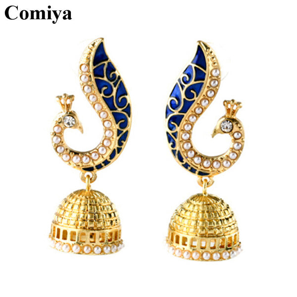 Comiya Gold Pearl Blue Peacock drop earrings for women mosaic brincos de festa indian jewelry pendientes largos joias Aliexpress - Hespirides Gifts - 2
