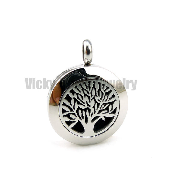 Round Silver Tree of Life (20-30mm) Aromatherapy / Essential Oils Stainless Steel Perfume Diffuser Locket Necklace - Hespirides Gifts - 9