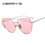 MERRY'S Women Cat Eye Sunglasses Classic Brand Designer Twin-Beams Sunglasses Coating Mirror Flat Panel Lens S'8018 - Hespirides Gifts - 1