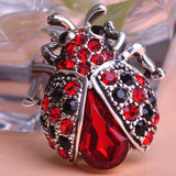 Vintage Jewelry Insects Beetles Corsages Ruby Antique Silver Crystal Ladybug Brooches Bouquet Brooch Pins For Women Girls Clips - Hespirides Gifts - 1