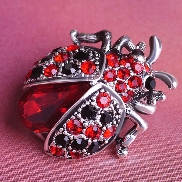 Vintage Jewelry Insects Beetles Corsages Ruby Antique Silver Crystal Ladybug Brooches Bouquet Brooch Pins For Women Girls Clips - Hespirides Gifts - 2