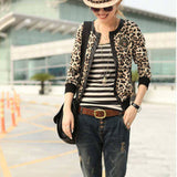 Leopard Print Sexy Lady Jacket summer spring Women Round Collar Zipper Bomber Jacket girl casual Slim thin suede short Coat - Hespirides Gifts - 1