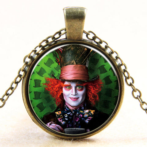 Fashion new vintage steampunk style Alice in Wonderland Mad Hatter glass dome art photo chain pendant necklace jewelry for women - Hespirides Gifts - 1