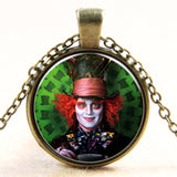 Fashion new vintage steampunk style Alice in Wonderland Mad Hatter glass dome art photo chain pendant necklace jewelry for women - Hespirides Gifts - 3