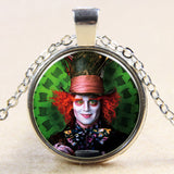 Fashion new vintage steampunk style Alice in Wonderland Mad Hatter glass dome art photo chain pendant necklace jewelry for women - Hespirides Gifts - 2