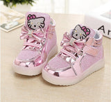 Girls shoes baby Fashion Hook Loop led shoes kids light up glowing sneakers little Girls princess children shoes with light - Hespirides Gifts - 5