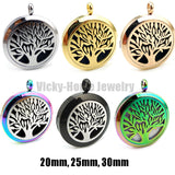 Round Silver Tree of Life (20-30mm) Aromatherapy / Essential Oils Stainless Steel Perfume Diffuser Locket Necklace - Hespirides Gifts - 1