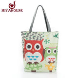 Floral And Owl Printed Canvas Tote Female Casual Beach Bags Large Capacity Women Single Shopping Bag Daily Use Canvas Handbags - Hespirides Gifts - 1