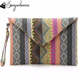 2016 Boho Totem Printing Canvas Wristlet Handbag Womens Envelope Clutches Purse Ladies Evening Party Bags Cheap - Hespirides Gifts - 1