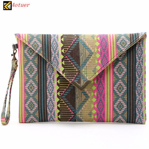 2016 Boho Totem Printing Canvas Wristlet Handbag Womens Envelope Clutches Purse Ladies Evening Party Bags Cheap - Hespirides Gifts - 4