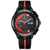 New Men Racer Sports Watches Chronograph Function 6 Hands Quartz Date Clock Man Silicone Strap Luxury Top Brand Wrist Watch - Hespirides Gifts - 1