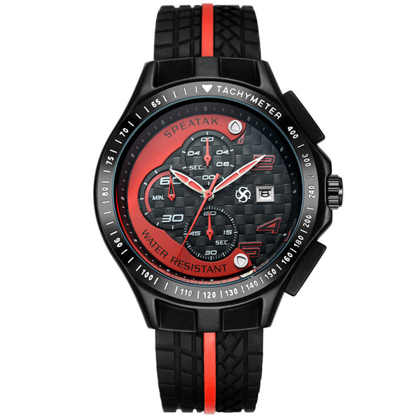 New Men Racer Sports Watches Chronograph Function 6 Hands Quartz Date Clock Man Silicone Strap Luxury Top Brand Wrist Watch - Hespirides Gifts - 2
