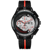 New Men Racer Sports Watches Chronograph Function 6 Hands Quartz Date Clock Man Silicone Strap Luxury Top Brand Wrist Watch - Hespirides Gifts - 3