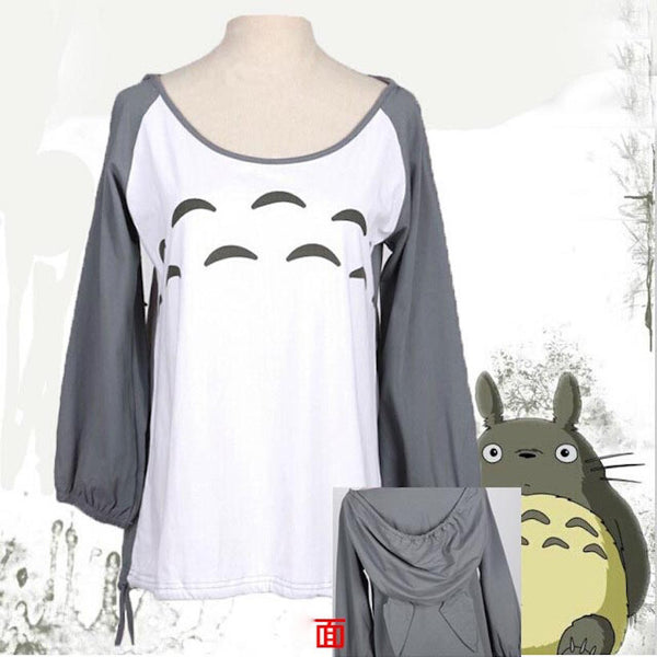 Super Cute! My Neighbor Totoro T shirt women female girls dress hooded t-shirt anime cosplay costume Tops & Tees - Hespirides Gifts