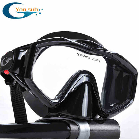 silicone tempered glass professional Scuba Diving Equipment Diving Mask + Dry Snorkel Set black - Hespirides Gifts - 1