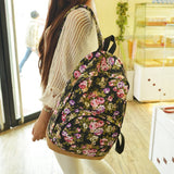 Vintage Retro Rose Floral Printing Backpack Women's Canvas Travel Backpack for Teenage Girls Rucksack - Hespirides Gifts - 1