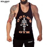 BOLUBAO Tank Top Men Bodybuilding New Summer Fashion Brand Men Crossfit Vest Cotton Singlets Muscle Printed Tanks Top GYMS Golds