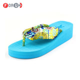 Summer bohemia flower Women flip flops platform wedges women sandals platform flip slippers beach shoes - Hespirides Gifts - 1
